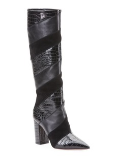 Aquazzura Boetti Croc-Embossed Mixed Leather Knee Boots