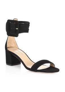 Aquazzura Casablanca Suede Block Heel Sandals