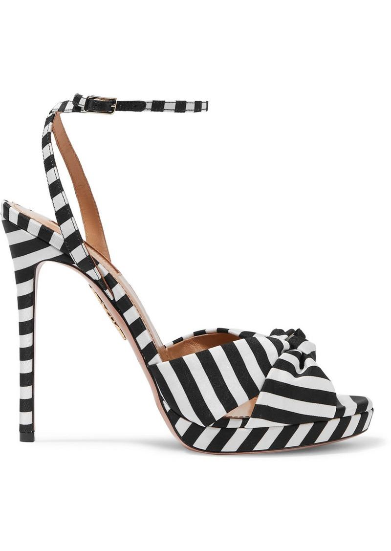 Aquazzura Chance 115 Striped Faille Sandals