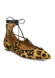 Aquazzura Christy Leopard Print Calf Hair Lace-Up Flats