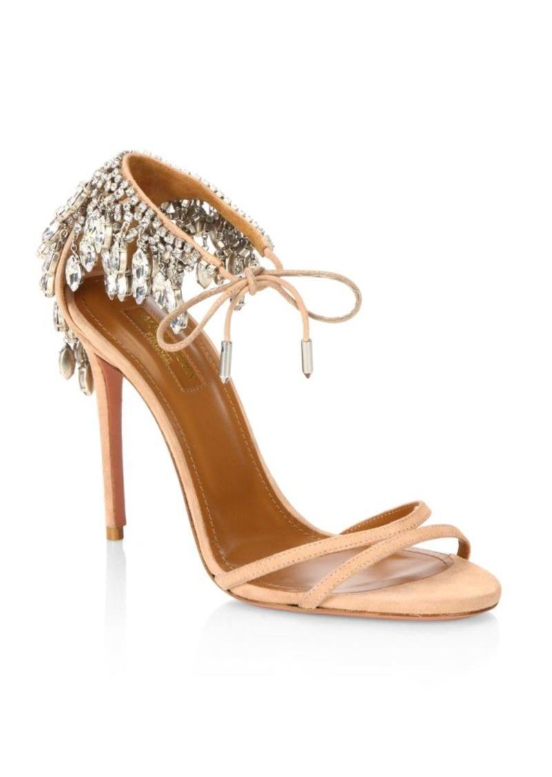 29061cf7f On Sale today! Aquazzura Eden Embellished Suede Stiletto Heel Sandals