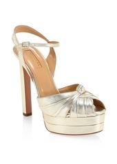 Aquazzura Evita Metallic Leather Platform Sandals