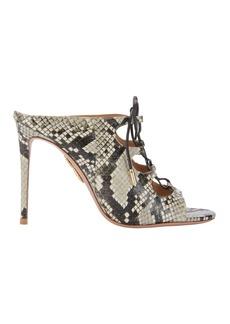Aquazzura Flirt Lace-Up Snakeskin Mule Sandals
