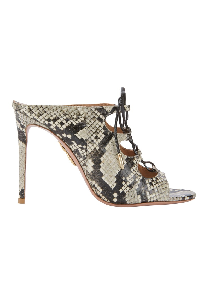 3b3ef9231f97 Aquazzura Flirt Lace-Up Snakeskin Mule Sandals