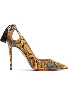 Aquazzura Forever Marilyn 105 Cutout Tasseled Elaphe Pumps
