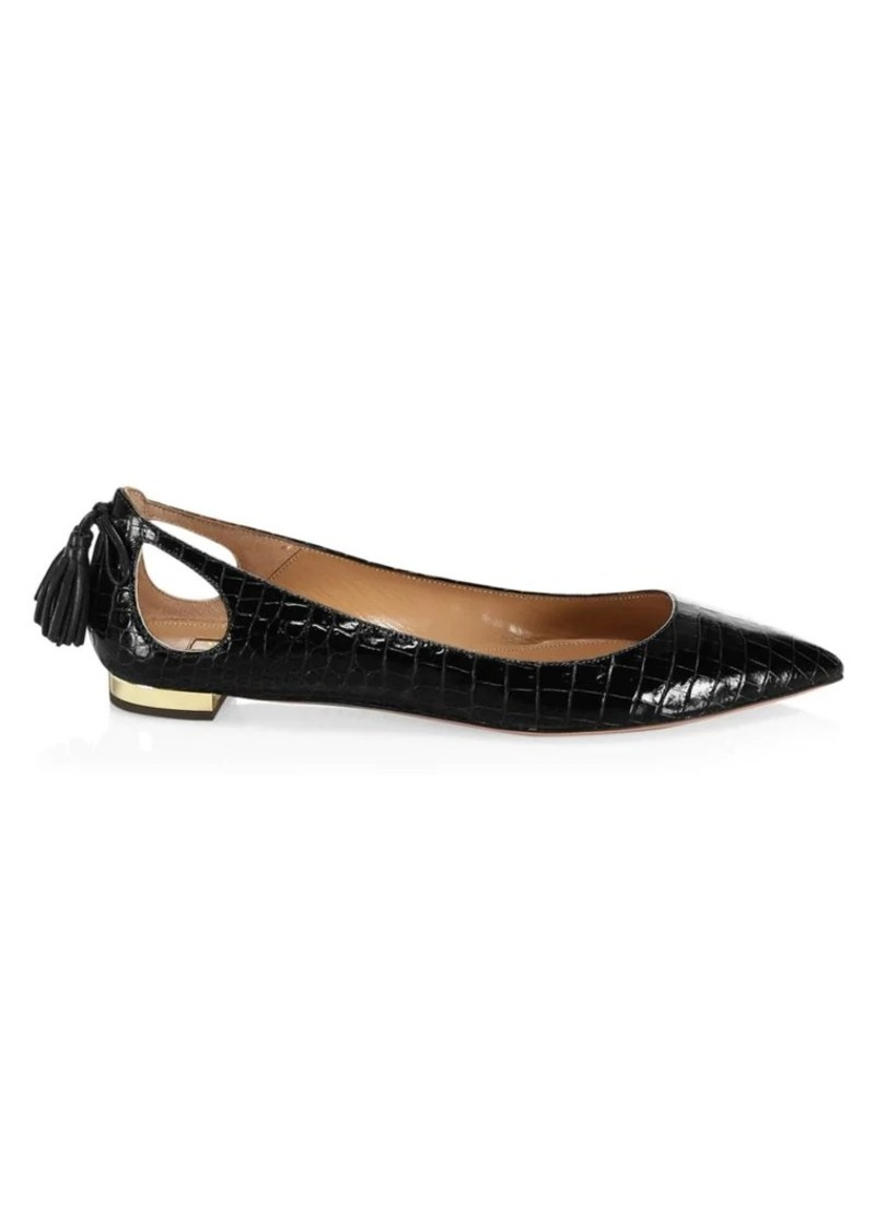 Forever Marilyn Cutout Croc-Embossed Leather Ballet Flats