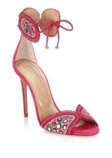 Aquazzura Jaipur Suede Ankle-Strap Sandals