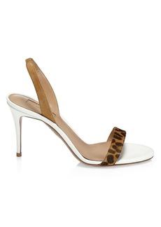 Aquazzura So Nude Leopard-Print Leather Slingback Sandals
