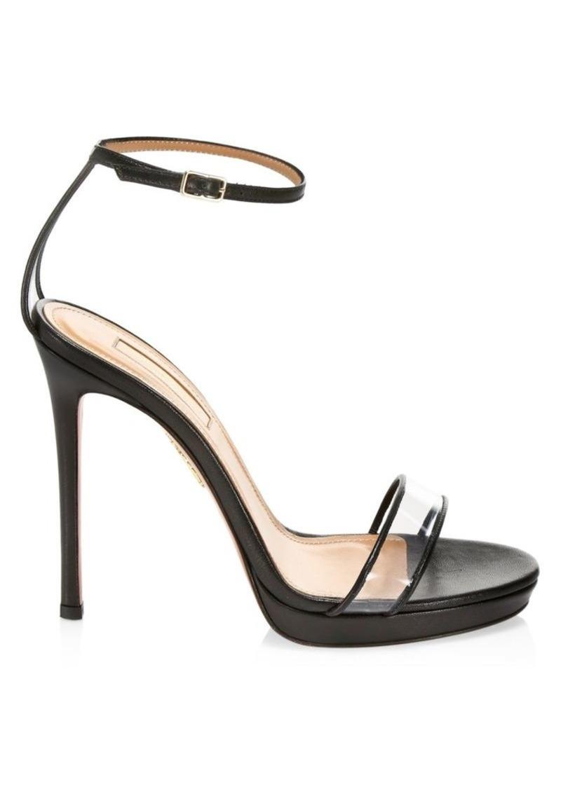 Aquazzura Minimalist PVC & Leather Stiletto Sandals