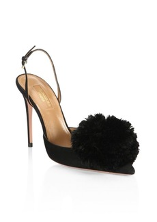 Aquazzura Powder Puff Suede Slingback Pumps