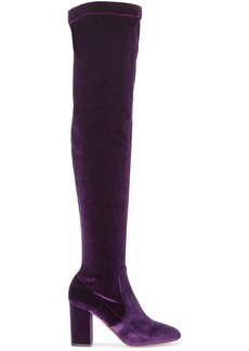 Aquazzura Purple So Me 85 velvet thigh boots