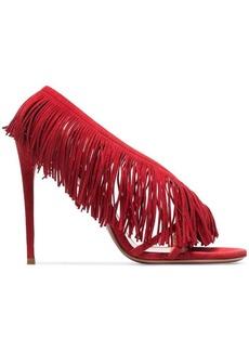 Aquazzura red wild fringe 105 suede leather sandals