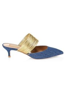 Aquazzura Rendez Vous Point-Toe Denim Mules