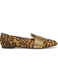 Aquazzura Rendez Vous Leather-trimmed Leopard-print Suede Loafers