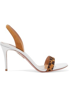 Aquazzura So Nude 85 Leopard-print Suede And Leather Slingback Sandals