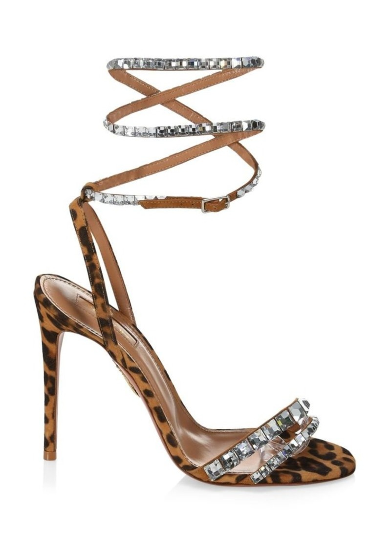 Aquazzura So Vera Swarovski Crystal-Embellished Leopard-Print Suede Sandals