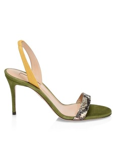 Aquazzura Suede & Snake-Embossed Strappy Sandals