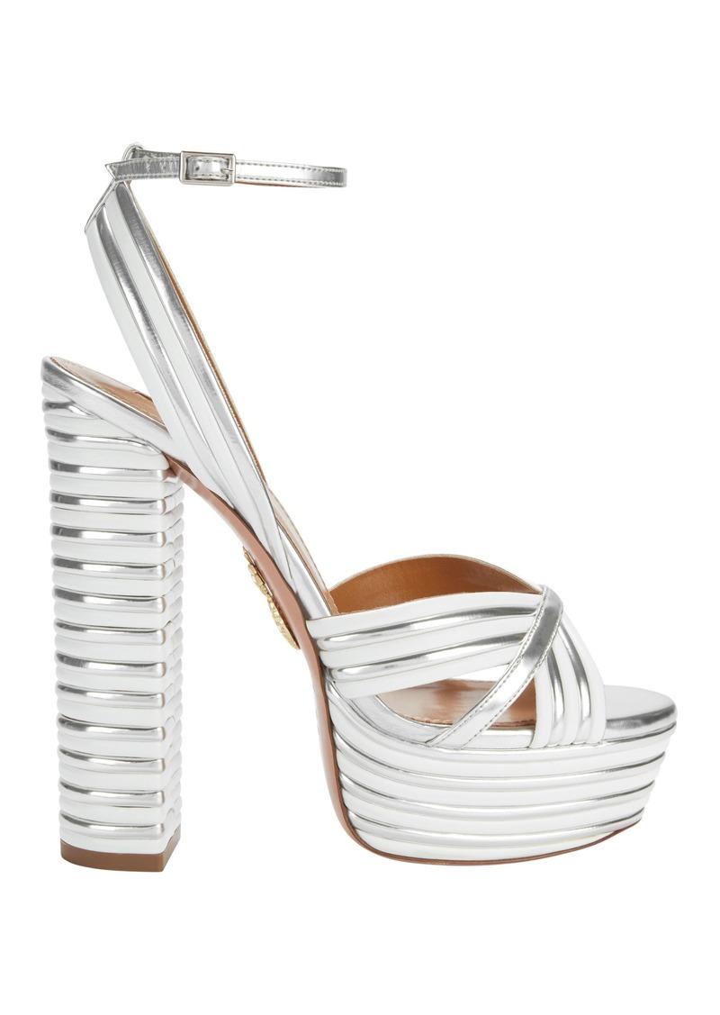 a4f61095639 Aquazzura Sundance Silver Platform Sandals