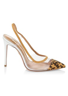 Aquazzura Temptation Leopard-Print Suede & PVC Point-Toe Slingbacks