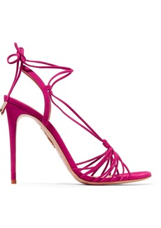 Aquazzura Whisper Lace-up Suede Sandals