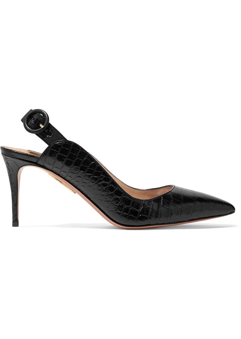 Aquazzura Yale 75 Croc-effect Leather Slingback Pumps
