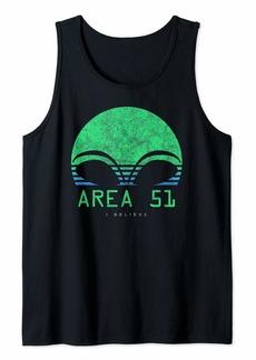 Area 51 Shirt I Believe Retro Sunset Alien Head UFO Gift Tank Top