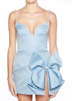 Area Crystal Bow Embellished Minidress