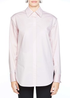 Area Crystal Collar Stretch Cotton Shirt