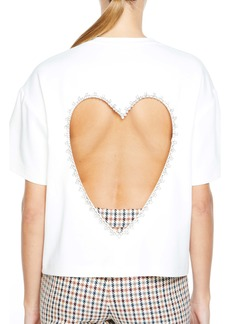 Area Crystal Embellished Heart Cutout T-Shirt