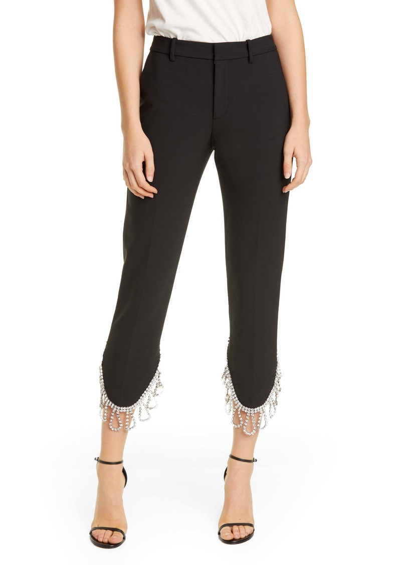 Area Crystal Fringe Crop Trousers