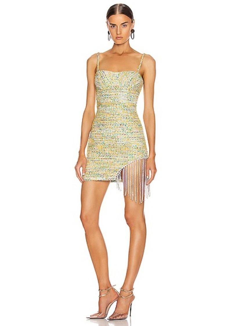 AREA Crystal Fringe Tweed Mini Dress