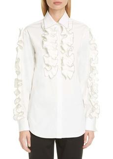 Area Crystal Ruffle Trim Tuxedo Shirt