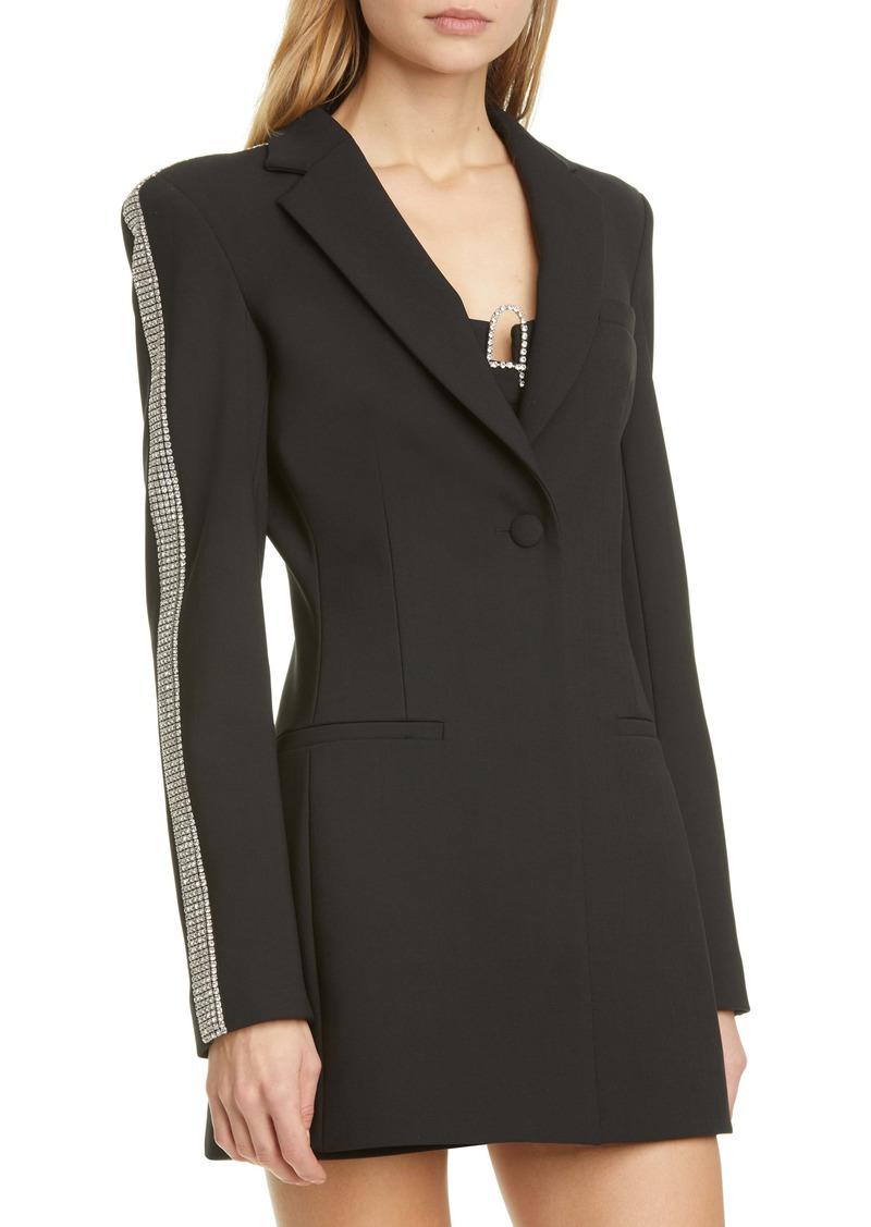 Area Crystal Stripe Long Sleeve Blazer Minidress
