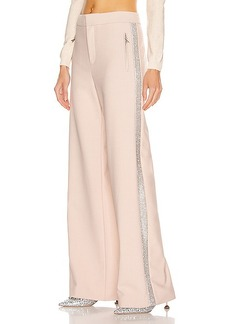 AREA Crystal Stripe Wide Leg Trouser Pant