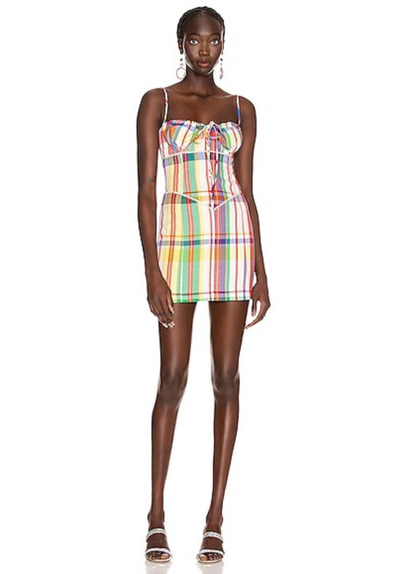 AREA Crystal Sweetheart Mini Dress