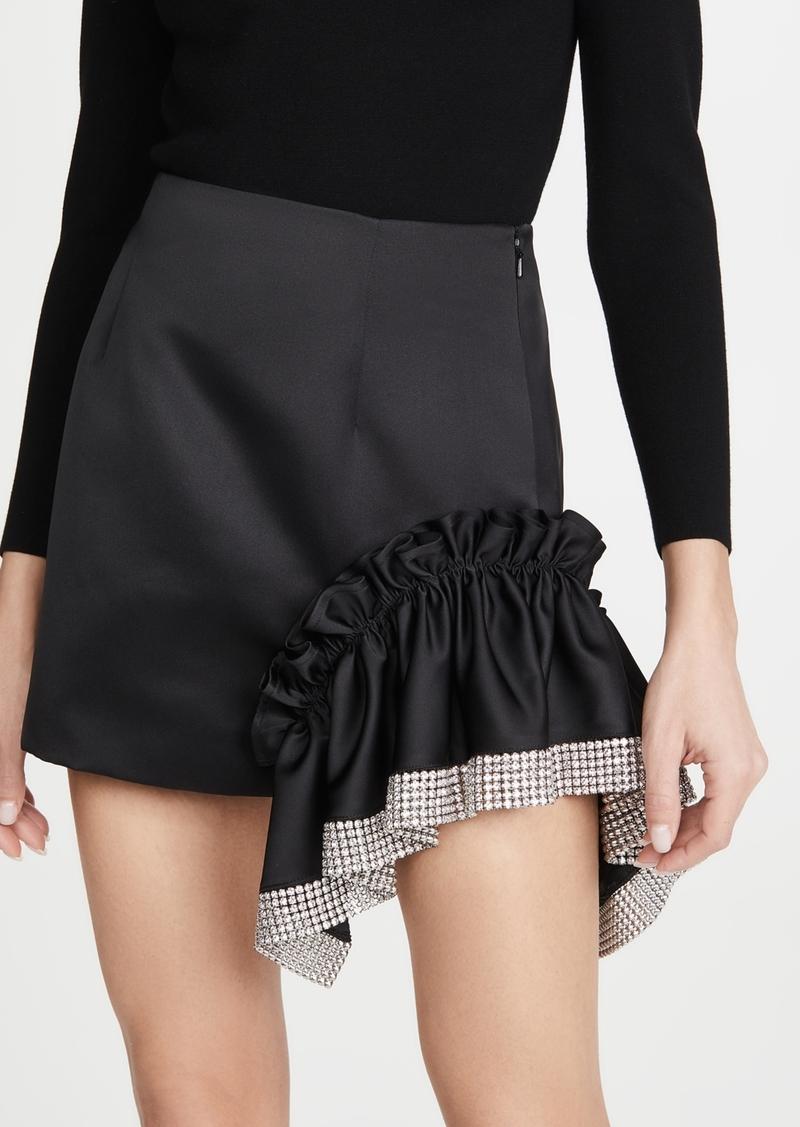Area Duchess Crystal Trim Ruffle Miniskirt