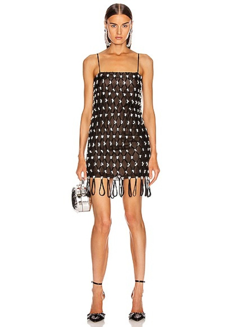 AREA Embroidered Net Dress