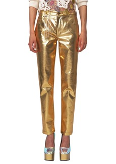 Area Metallic Coated High Waist Ankle Skinny Jeans (Gold)