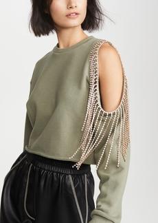 Area Pullover Sweatshirt with Cutout Shoulder
