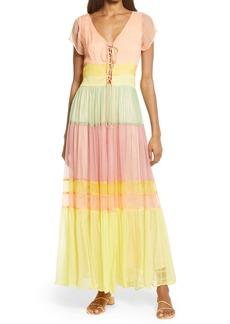 Area Stars Rainbow Tiered Chiffon Maxi Dress