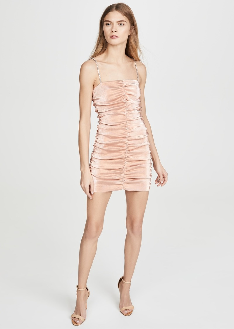 Area Stretch Lamé Shirred Mini Dress