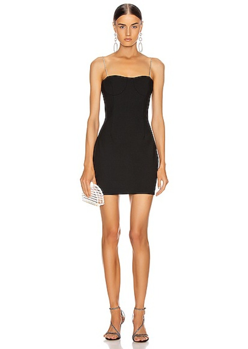 AREA Tailored Crystal Strap Slip Dress