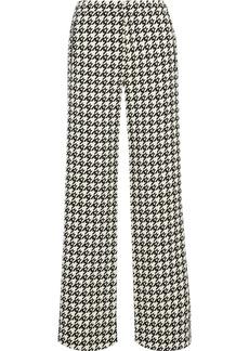Area Woman Crystal-embellished Houndstooth Wool-blend Twill Wide-leg Pants Ecru
