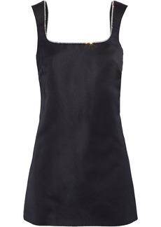 Area Woman Open-back Crystal-embellished Duchesse-satin Mini Dress Black