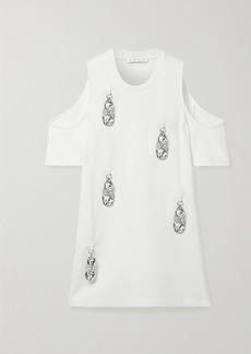 Area Cold-shoulder Embellished Stretch-jersey Mini Dress
