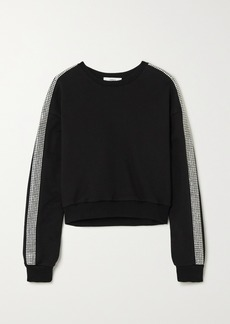 Area Cropped Crystal-embellished Cotton-jersey Sweater