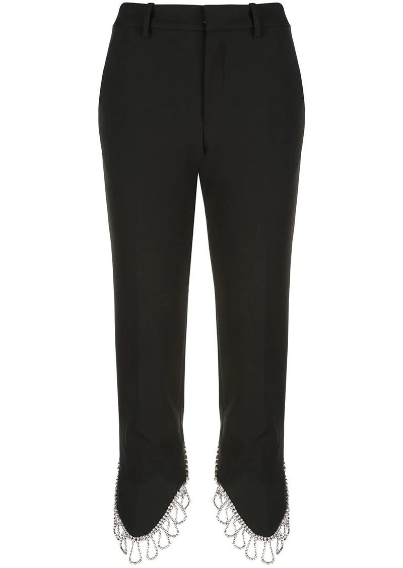 Area cropped embellished hem trousers