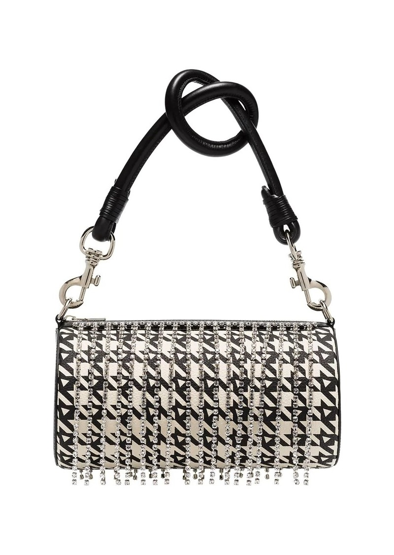 Area crystal embellished houndstooth shoulder bag