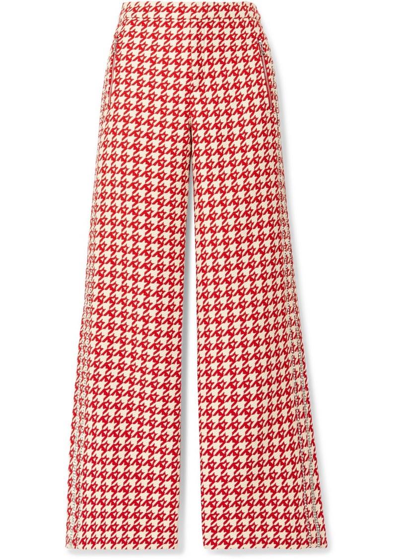 Area Crystal-embellished Houndstooth Wool-blend Wide-leg Pants