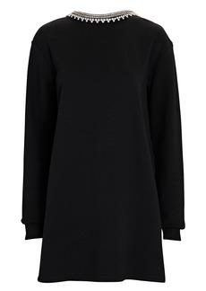 Area Crystal-Embellished Mini Sweatshirt Dress